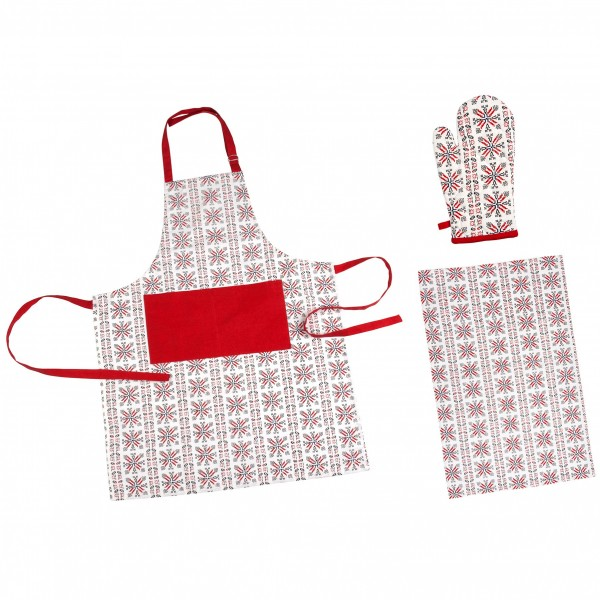 Set bucatarie 3 piese Heinner Home, 100% bumbac, model Traditional